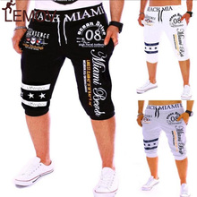 LEMOV New Casual Men Shorts men clothes 2018 streetwear short pants Drawstring Elastic High Waist Printing jeans shorts