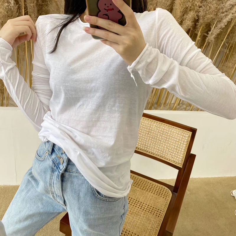 Solid Color Tshirt For Women Spring Summer Simple Crew Neck Solid Color Thin Loose Basic Shirt Long Sleeve Slimming T-shirt Tee
