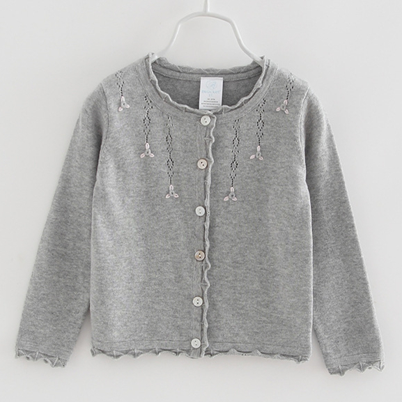 0-3yrs Sweet Gray Baby Girl  Cardigan Jackets Outerwear Thin Cotton Sweater 6 9 12 18 24 Month Infant Toddler Clothes OGC215410