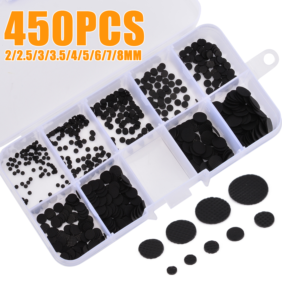 450pcs/box 2-8mm Different Sizes Conductive Rubber Pads Keypad Repair Kit For IR Remote Control Conductive Rubber Buttons