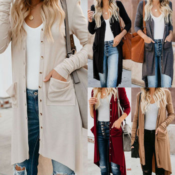 Women Snap Button Sweater Open Front Long Sleeve Knit Snap Button Down Cardigans V Neck Long Sleeve Ribbed Detail Knit New lettuce edge trim button front ribbed dress