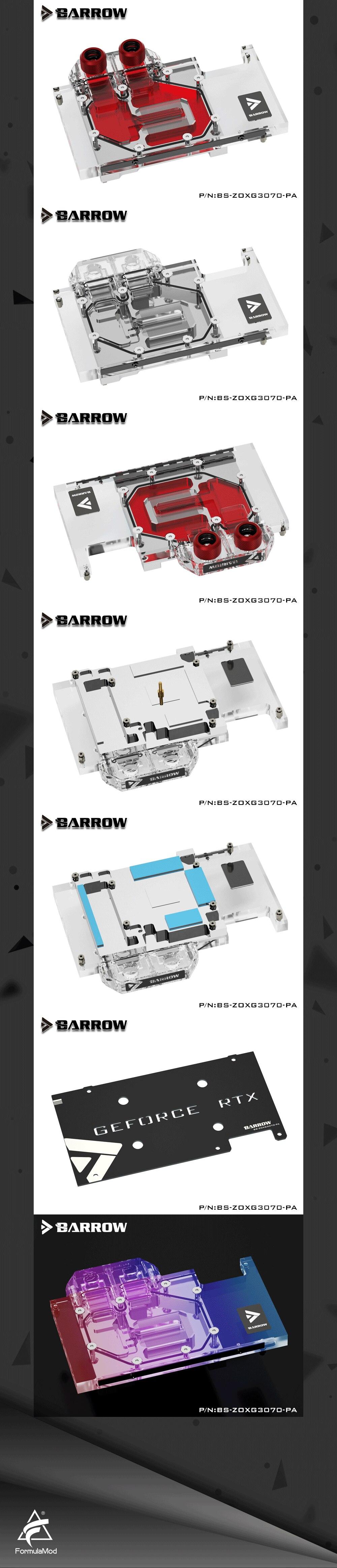Barrow 3070 GPU Water Block for ZOTAC Geforce RTX 3070 X-GAMING OC, Full Cover ARGB GPU Cooler, BS-ZOXG3070-PA