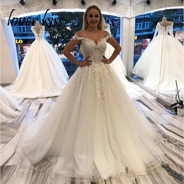 فستان زفاف من العشاق Kiss Vestido Noiva الأميرة الدانتيل قبالة الكتف بلينغ الكرة ثوب العروس فساتين تول رداء دي ماري