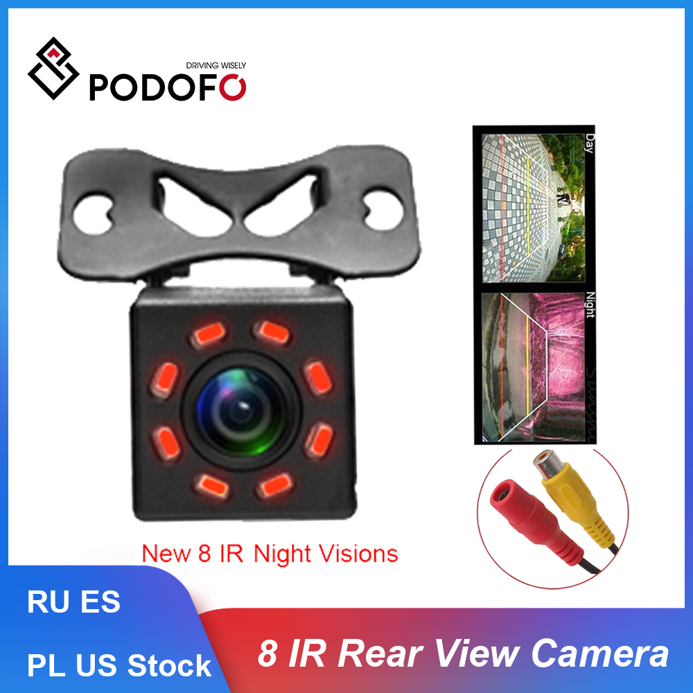 Podofo Car Rear View Camera Universal 8 IR Night Vision Backup Parking Reverse Camera Waterproof 170 Wide Angle HD Color Image