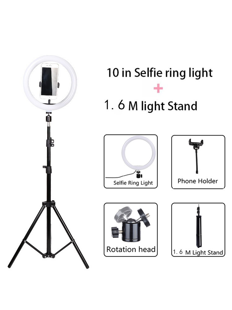 Video-Light Lamp Phone-Holder Makeup Usb-Ring Selfie Youtube LED with 2M Tripod-Stand