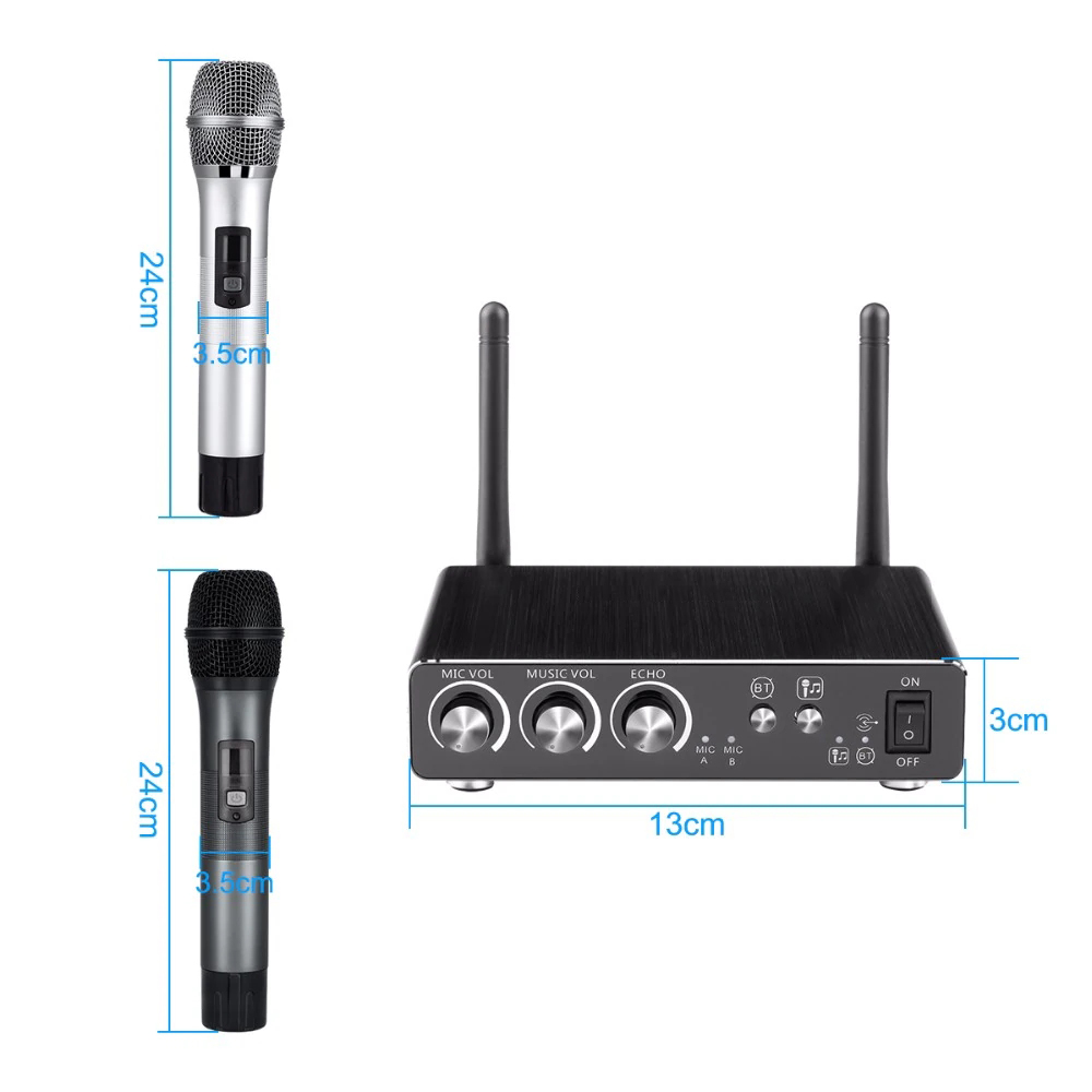 Excelvan Micro K28 Wireless Dual Channel Microphone Adjustable Echo Volume Digital Low Distortion For Home Entertainment Conference (12)