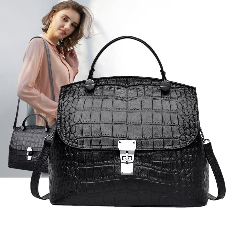 Leather Handles Handbags Crocodile Pattern Leather Shoulder Bag Red Wedding Tote Bags Coffee