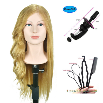 "20"" Training Head With Shoulder High Grade Hairdressing Head Nice Dummy Manequim Long Golden Hair Mannequin Head"
