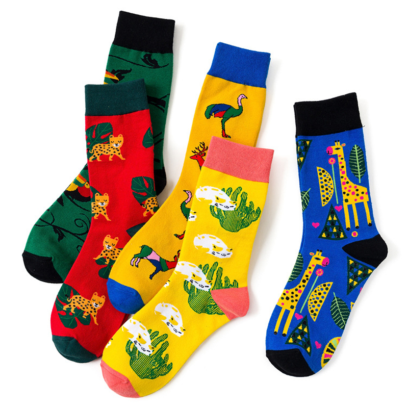 1 Pair New Autumn Winter Unisex Cartoon Cotton Socks Pattern Leopard Cactus Ostrich Parrot Giraffe Happy Funny Harajuku Socks