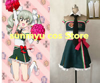 Customize,Free Shipping! Girls und Panzer Anchovy Cheerleader Uniform Cosplay Costume Custom Size Halloween Wholesale