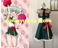 Customize,Free Shipping! Girls und Panzer Anchovy Cheerleader Uniform Cosplay Costume Custom Size Halloween Wholesale