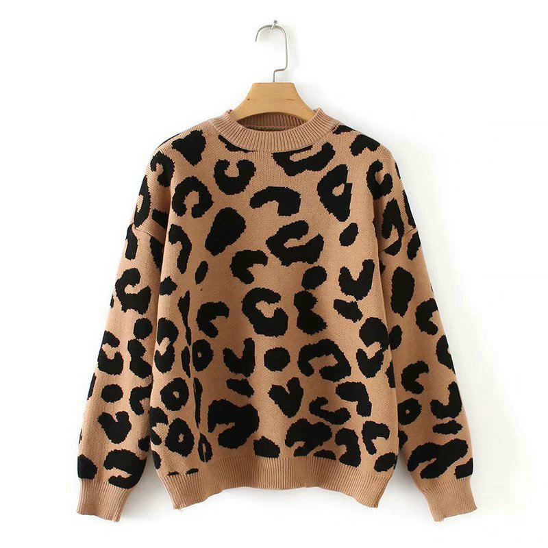 Woman Leopard Knitted Sweater Winter Thick Long Sleeve Female Pullovers 2019 Autumn Fashion Casual Tops Knitting Sweaters Ladies