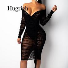 2020 Ruffle Sheer Lace Bodycon Dress Plus Size S-4XL Women Sexy V Neck Off Shoulder Long Sleeve Sheath Midi Club Party Dress long sleeve sheer lace plus size teddy
