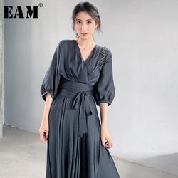 [EAM] femmes gris pansement élégant robe en mousseline de soie nouveau col en v trois-quarts manches coupe ample mode marée printemps été 2020 1W512