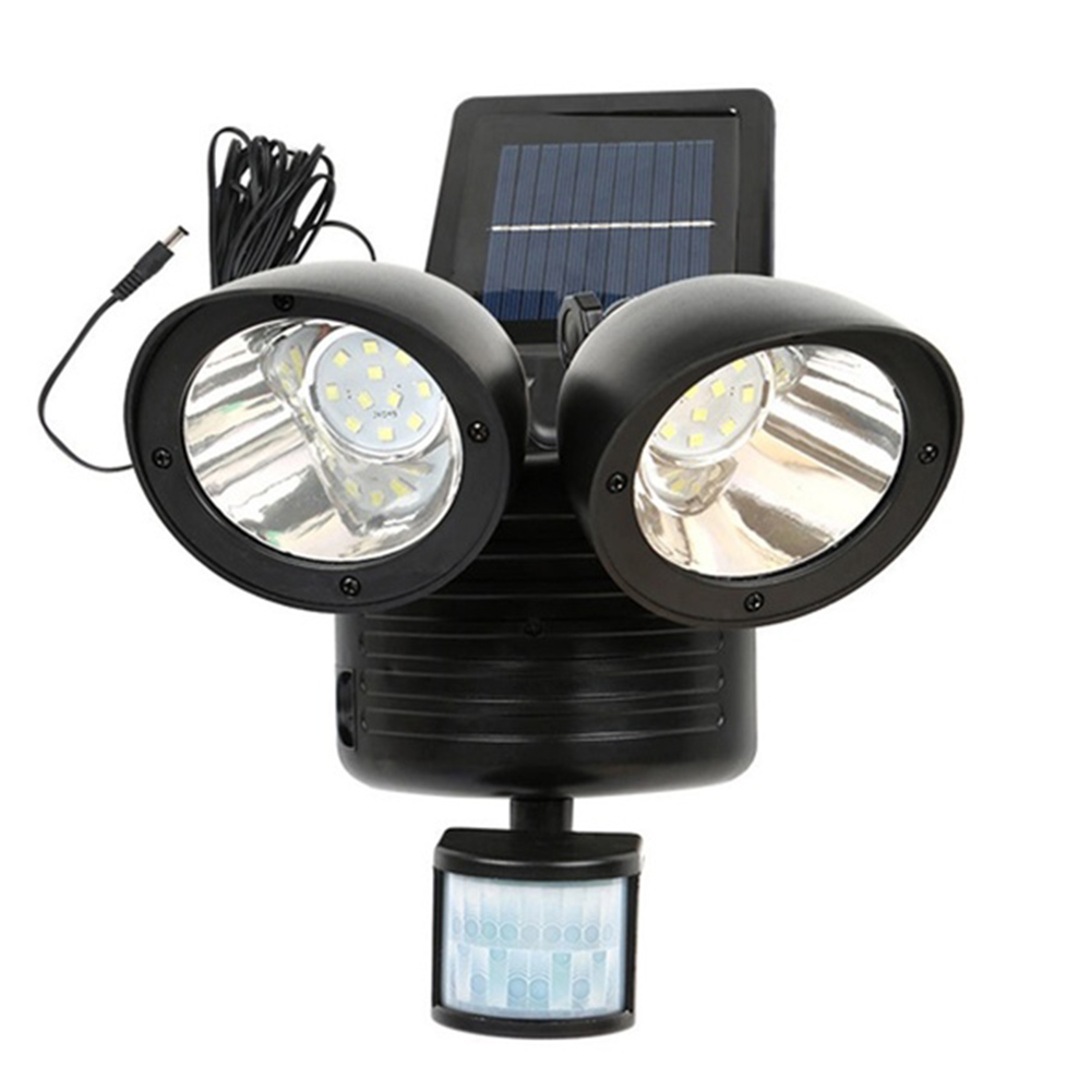 42 LED Solar Power Light Double Head Human Body Motion Sensor Pathway Solar Lamp Outdoor Waterproof Energy Saving Spotlight