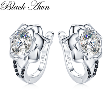 2020 Black Awn 925 Sterling Silver Round Black Trendy Spinel Engagement Flower Hoop Earrings for Women Fine Jewelry Bijoux I152 [black awn] wedding stud earrings for women genuine 925 sterling silver jewelry black spinel stone boucle d oreille brincos t038