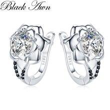 Black Awn 925 Sterling Silver Round Black Trendy Spinel Engagement Flower Hoop Earrings for Women Fine Jewelry Bijoux I152