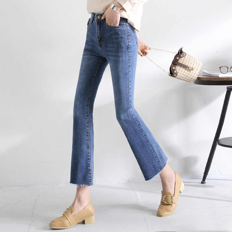 2019 Autumn New Style Korean-style Fashion High Waist Jeans Women's Tight-Fit Capri Pants Slimming Micro Bell-bottom Pants Fashi