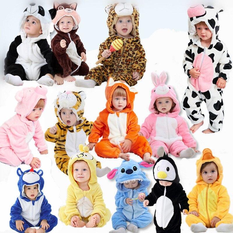 Bebê menino & meninas macacão animal dos desenhos animados crianças roupas recém-nascidos macacão de bebê quente primavera outono inverno para o menino snowsuit