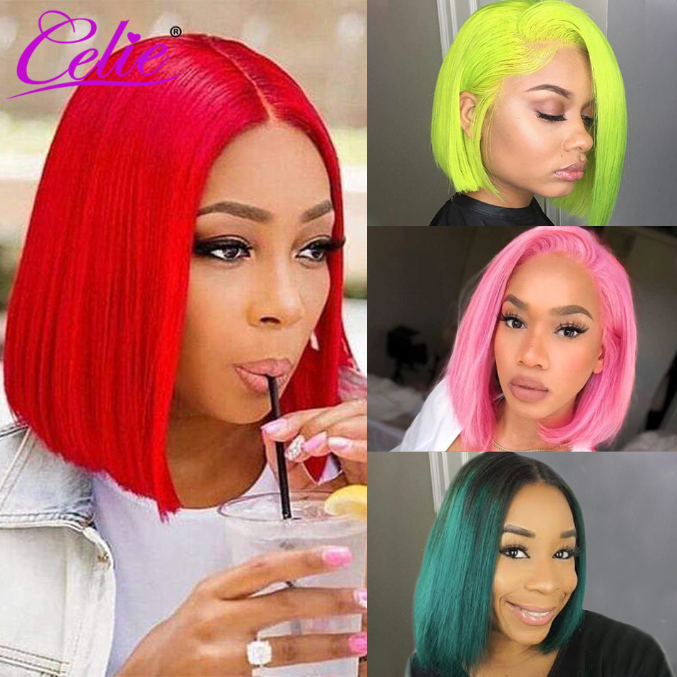 Celie 613 Blonde Bob Lace Front Wig 13x6 Short Lace Front Human Hair Wigs Pink Blue Red Green Transparent Ombre Human Hair Wig image