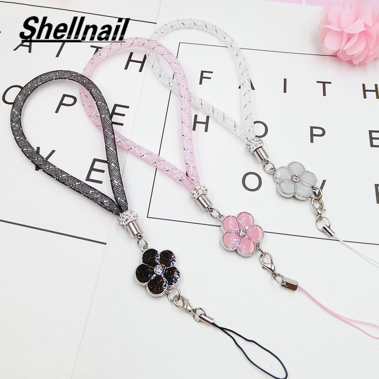 SHELLNAIL Mesh Star Mobile Phone Straps Camellia Hand Ropes Pendant Couple Holding Rope For Airpods Key ID Card Phone Lanyards