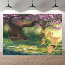 NeoBack Mùa Xuân Lễ Phục Sinh Hoa Cây Hươu Công Chúa Thỏ Con Phông Nền Chụp Ảnh Sinh Nhật Phòng Thu Ảnh Phông Nền Biểu Ngữ