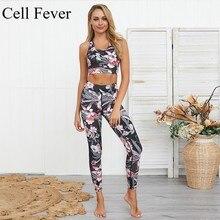 Women 2 Piece Yoga Set Gym Fitness Workout Clothes Floral Print Bra+Long Pants Running Tights Jogging Yoga Leggings Sport Suit цена в Москве и Питере