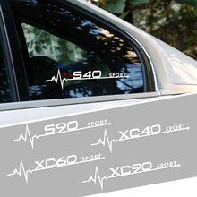 2pcs Auto Side Window Decor Stickers Trim Decals For Volvo S60 XC90 V40 V50 V60 S90 V90 XC60 XC40 AWD T6 C30 C70 S80 V70 XC70