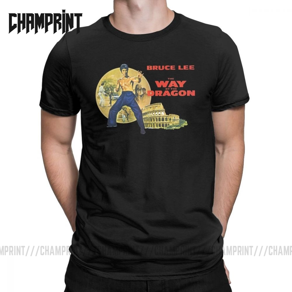 Men's Bruce Lee Is Back T Shirts Dragon Movie Kung Fu Brusli Karate China 100% Cotton Tops Short Sleeve Tees Big Size T-Shirt image