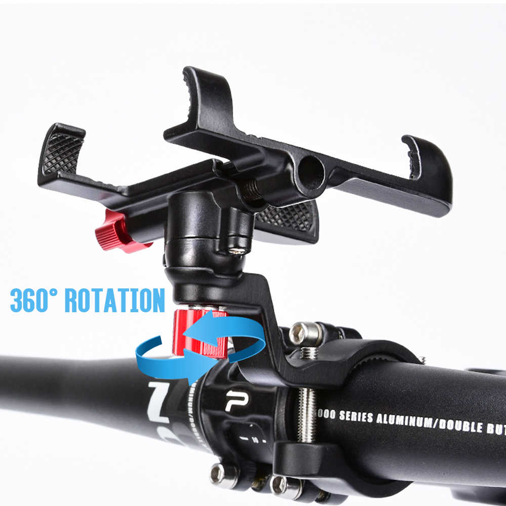 อลูมิเนียมอัลลอยด์จักรยานจักรยานโทรศัพท์ผู้ถือRacksรถจักรยานยนต์Handlebar Mount Non-Slipโทรศัพท์มือถือคลิปสำหรับจักรยาน
