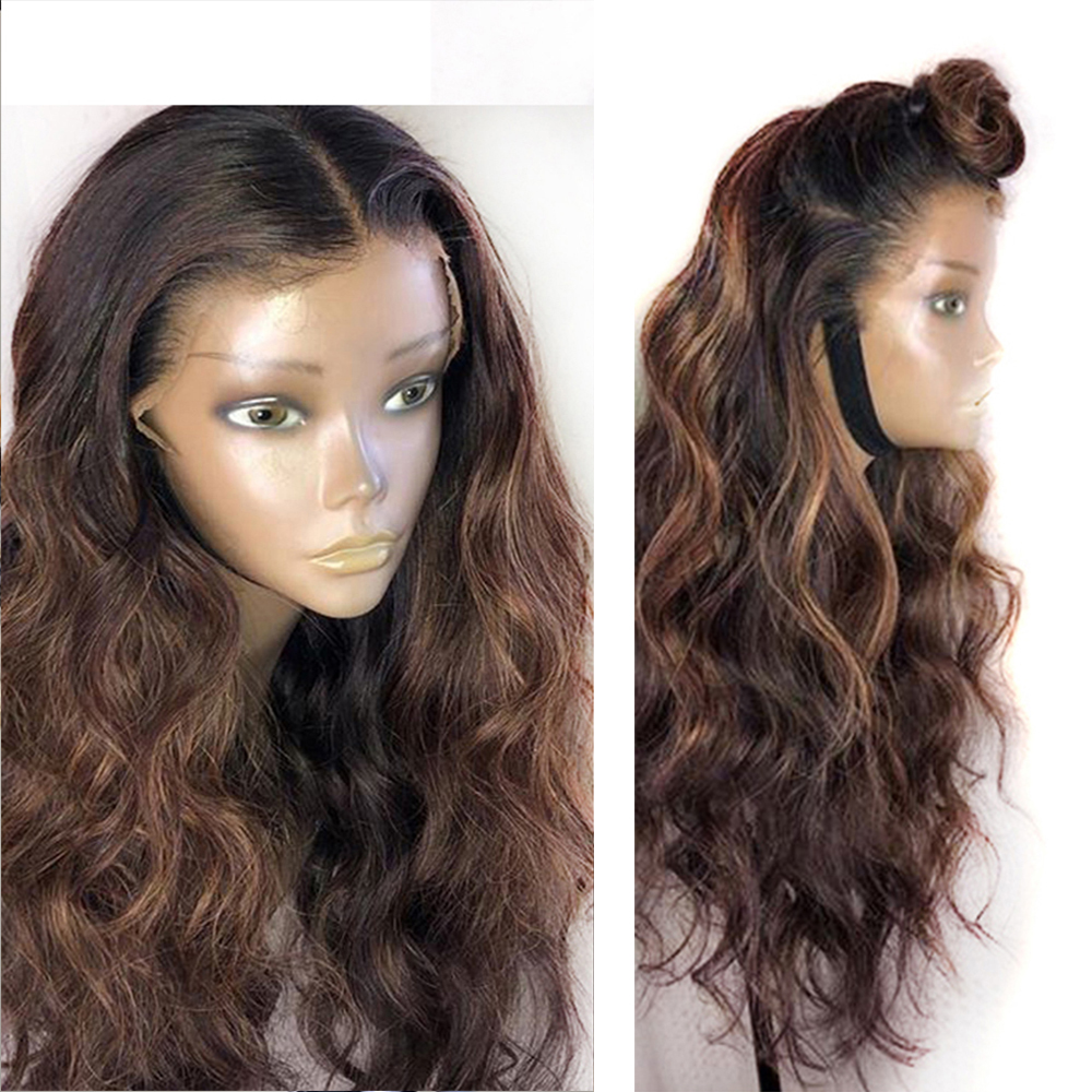 Eversilky 13x4 Lace Front Brown Highlights Blonde Wig 360 Lace Frontal Human Hair Wigs With Baby Hair Pre Plucked Body Wave Wigs