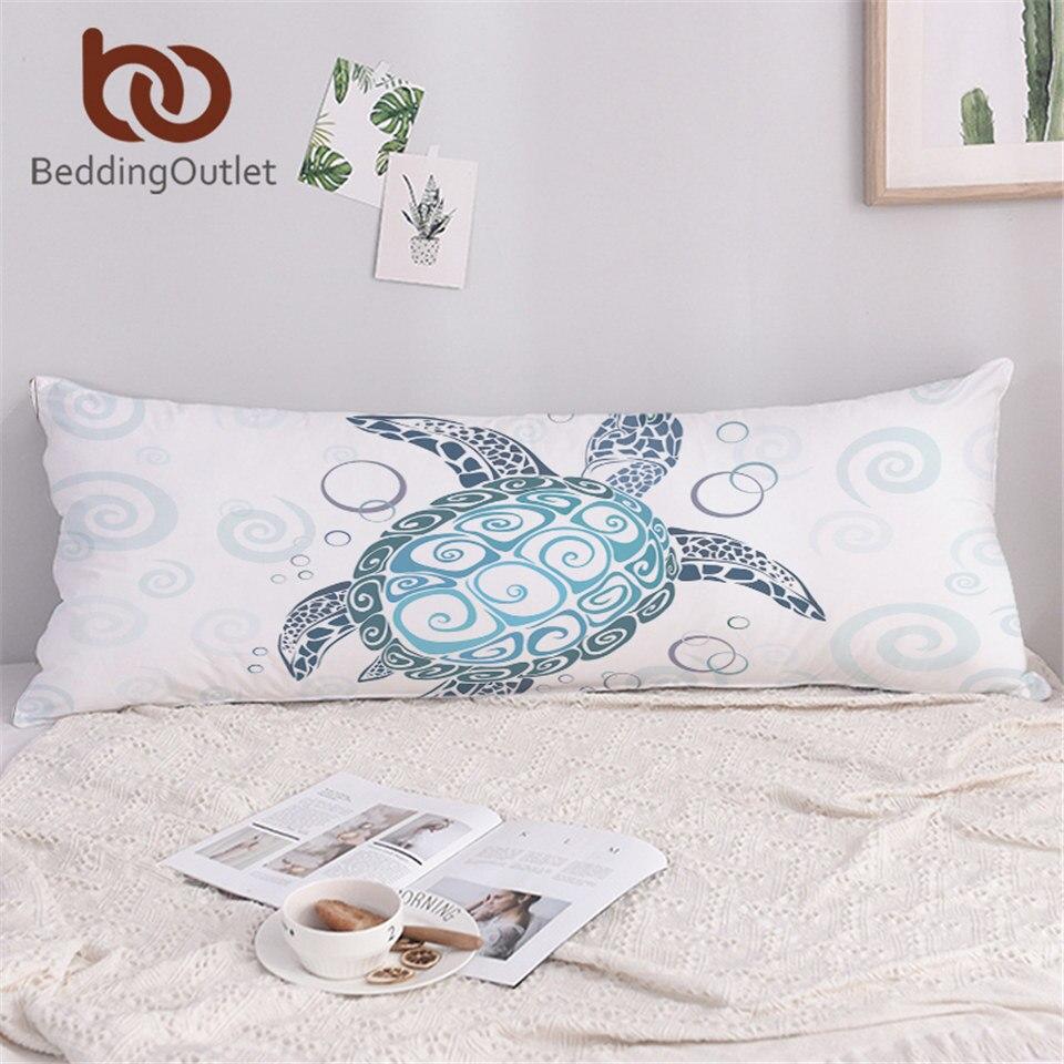 BeddingOutlet Sea Turtle Long Pillowcase Blue Sleeping Pillow Case for Adult Tortoise Marine Animal Body Pillow Cover 1-Piece 1