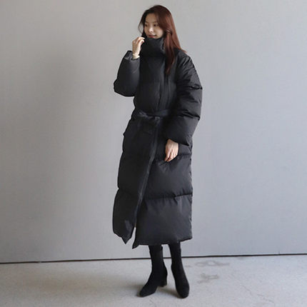 Hooded Lace-up Cotton-padded Clothes Women's Loose-Fit BF Down Coat Korean-style Thick Over-the-Knee Mid-length Down Jacket Cott