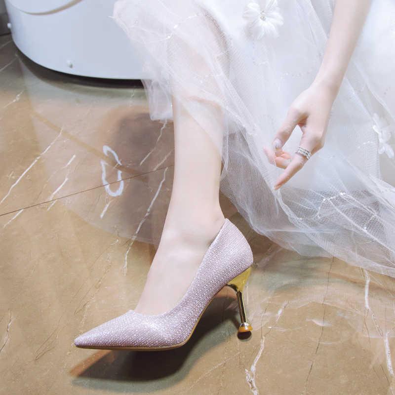8 Cm mujeres bombas Sexy zapatos de tacón alto tacones puntiagudos Bling Stiletto tacones mujeres 2020 damas boda zapatos novia
