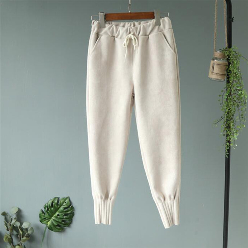 Autumn Winter Pants Warm Women Ankle Length Woolen Harem Pant Thick High Waist Female Work Suit Pant Loose Female Trousers