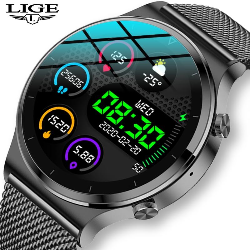 ליגע 2021 חדש חכם שעון גברים IP68 עמיד למים מרובים שעון ספורט מצבי לב קצב מזג אוויר תחזית Bluetooth גברים חכם שעון