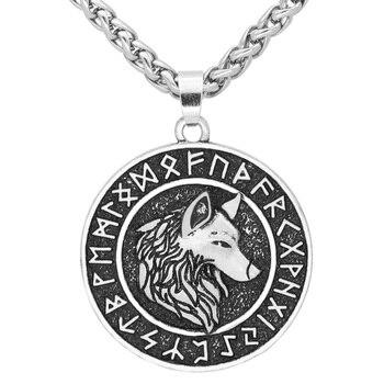 Nordic Viking Odin Wolf Geri And Freki Rune Pendant Necklace  Viking Necklace
