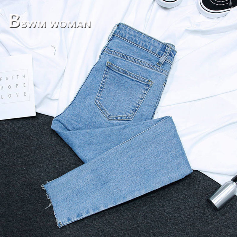 2019 Spring Slim Tight Women Jeans 3 Color Can Choose Female Trousers Pants 4