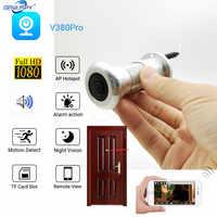 Almacenamiento en la nube de 1080P tarjeta TF Audio por WIFI ojo de la puerta agujero hogar lente gran angular red Mini mirilla Wifi puerta cámara IP P2P V380 Pro