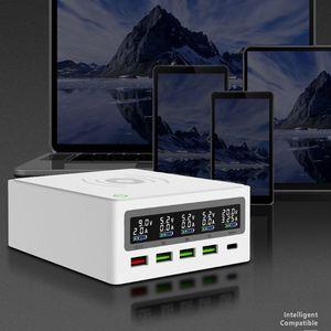 Image 4 - 5 포트 QC3.0 USB 유형 C PD 65W 전원 어댑터 Qi 무선 충전기 핸드폰 빠른 충전기 노트북 휴대 전화 태블릿