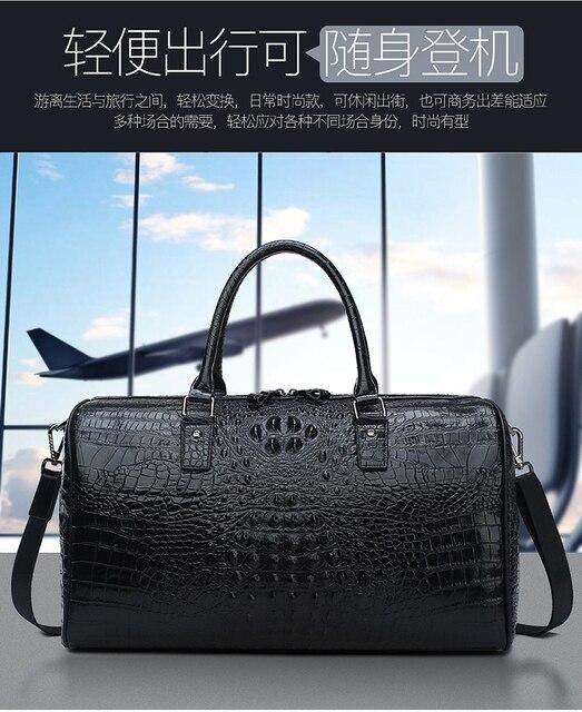 Leather alligator travel bag men's large capacity luggage bag women's leather business boarding bag portable fitness bag 1