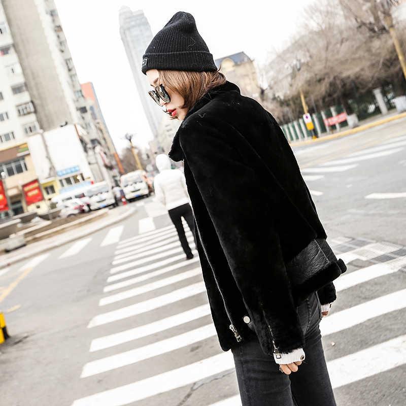 Geser Domba Nyata Bulu Mantel Musim Dingin Wanita Korea Alam Wol Jaket untuk Wanita Pakaian Manteau Femme YY952