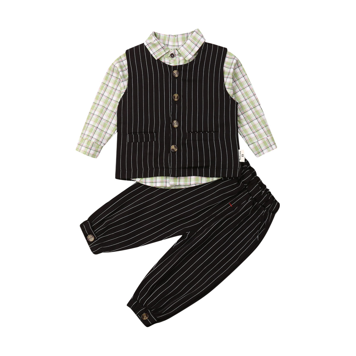 Handsome Toddler Boy Gentleman Suits 3 Piece Clothes Black Waistcoat Long Sleeve Shirts Pants Kids Autumn Formal Outfits in Clothing Sets from Mother Kids