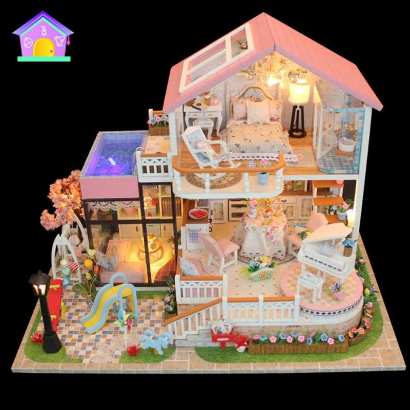 Kids Wooden Miniature Dollhouse Children DIY Doll House Child Handmade Assembly Model House Toy Boy Girl Dollhouse Birthday Gift
