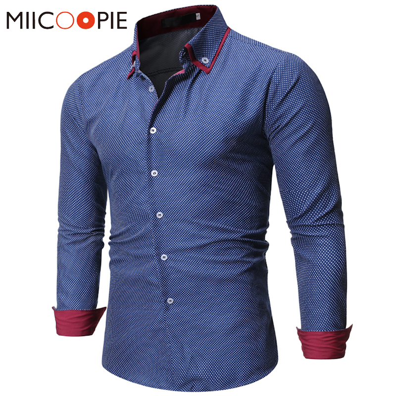 New Polka Dot Printed Mens Dress Shirts Business Casual Button Up Slim Fit Men Shirt High Quality Long Sleeve Kerst Blouse Heren