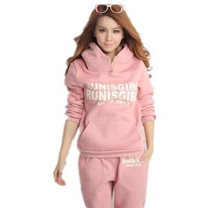 Image 5 - Plus Size M 6XL Casual Brief Hooded Fleece Sweatshirt Drie Stukken Set Herfst Winter Vrouwen Pak Warme Fluwelen Vrouwen Trainingspakken