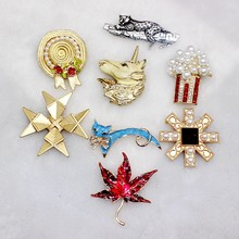 2020 Baru Kepribadian Retro Cheetah Enamel Drop Glaze Busur Biru Cat Art Kreatif Bros Akhir Musim Gugur Maple Leaf Baroque Bros(China)