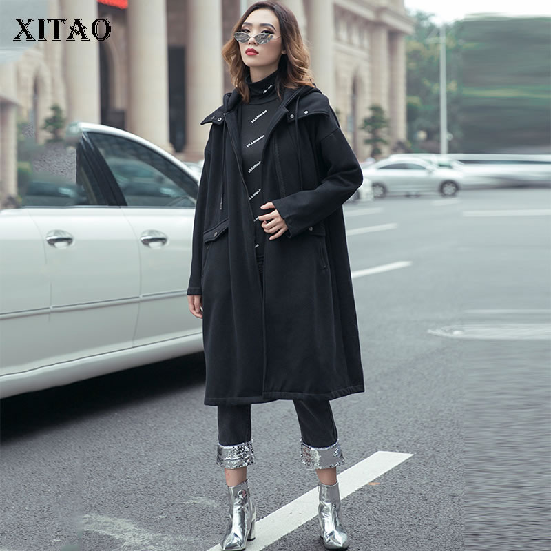 XITAO Tide Patchwork Zipper Elegant   Trench   Black Women Clothes 2019 Fashion Pocket Hooded Collar Full Sleeve Coat Top XJ2384