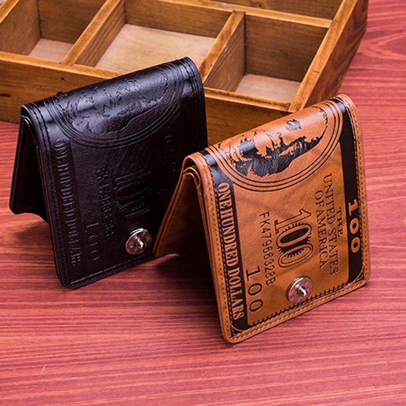 2020 marca de moda couro carteira masculina 2020 dólar preço carteira casual embreagem dinheiro bolsa titular do cartão crédito novo|Carteiras|   -