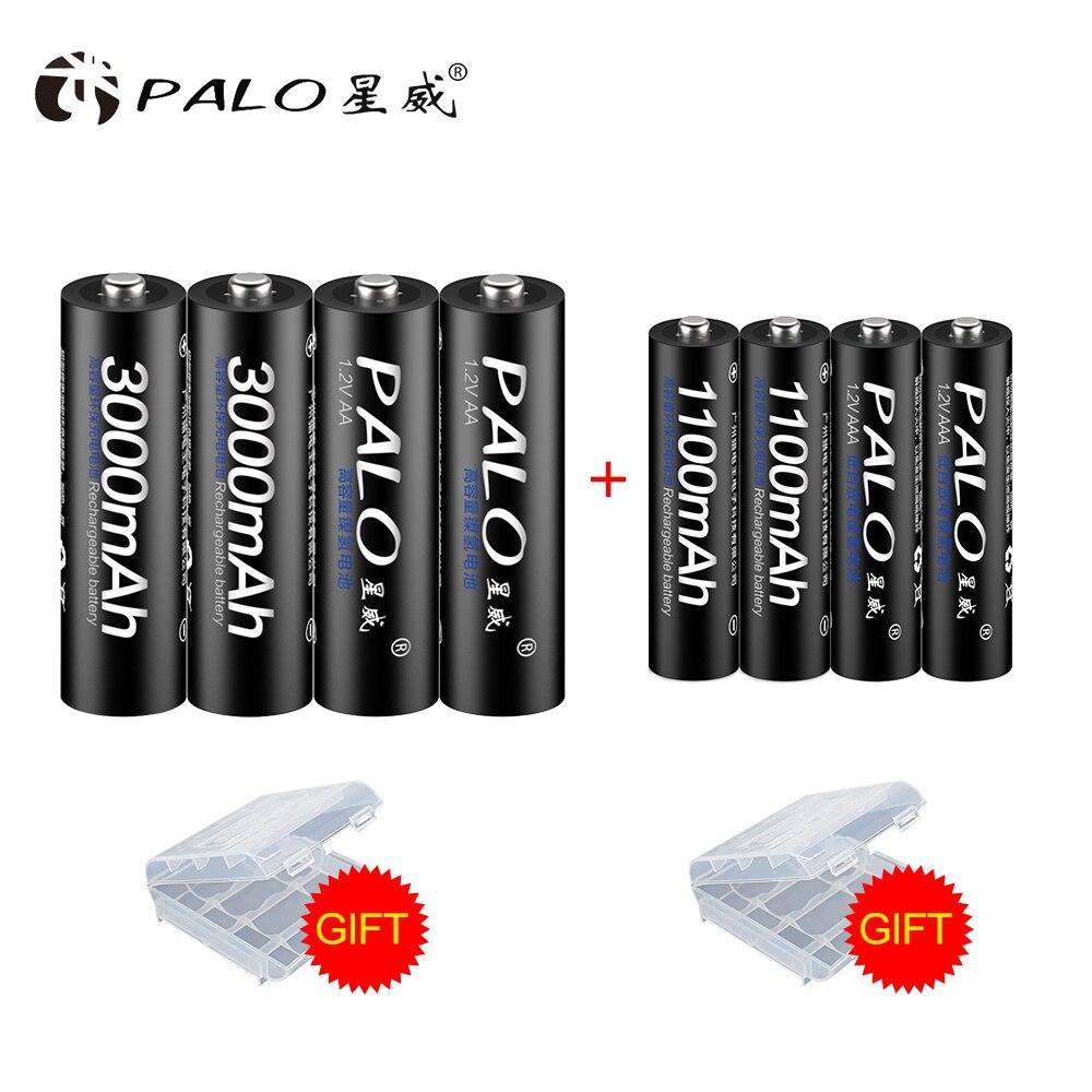 PALO 4Pcs 1.2V 3000mAh AA Batteries+4Pcs 1.2V 1100mAh AAA Batteries NI-MH AA/AAA Rechargeable Battery With Battery Box Gift